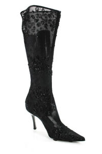 Sergio Rossi Womens Vintage Beaded Mesh Knee High Boots Black Size 38.5 8.5