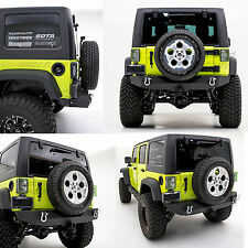 Heavy Duty 07-17 Jeep Wrangler JK Black Rock Crawler Rear Bumper+Hitch Receiver