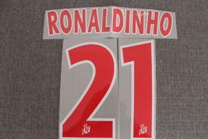 Flocage RONALDINHO n°21 rouge PSG  patch shirt Paris Saint Germain maillot