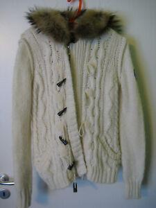 Strickjacke Winterjacke weiß von Napapijri Gr. XL für Damen Alpaka Schurwolle