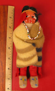 ANTIQUE NATIVE AMERICAN INDIAN COMPOSITION GIRL DOLL SELLING AT NO RESERVE !!!