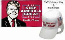 3'x5' Donald J Trump Keep America Great & Make America Great White Red Hat Set