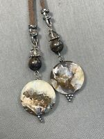 """Ladies Brown  Bohemian Long Tassel Picture jasper Necklace Leather Chain  26"""""""