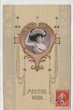 CPA GAUFREE EMBOSSED Meilleurs voeux photo femme chapeau ca1908