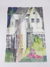 Large Watercolor Painting Big White House Rain Storm SueAnn Stinson Texas Artist