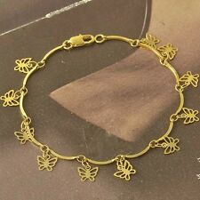 Cool 9K Yellow Gold Filled Butterfly Womens Bracelet 18cm , F5169