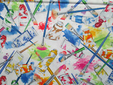 PAINT BRUSHES TUBES PAINTS COLORS CREATIVE ARTIST WHITE COTTON FABRIC FQ