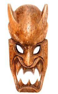 GORGEOUS VINTAGE LARGE UNIQUE HAND CARVED WOODEN DEVIL's FACE MASKS WALL DECOR