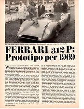 1969 FERRARI 312 P ~  NICE ORIGINAL 3-PAGE ARTICLE / AD
