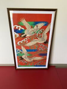 Vintage Painting Art  Design Crane Japanese kimono  Ucikake  Design  Handwriting