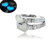 Men Women Best Friend Friendship Rings Silver Glow In The Dark Ring Jewelry Gift