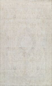Muted Semi-Antique Tebriz Distressed Area Rug Evenly Low Pile Wool Handmade 9x12
