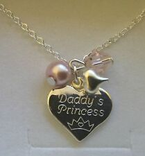 Engraved personalised girls daughter big sister DADDYS PRINCESS necklace gift