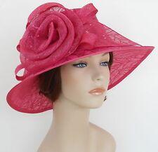 New Woman Kentucky Church Derby Wedding Sinamay Ascot Dress Hat 3063 Hot Pink