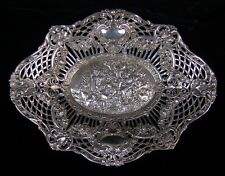 Antique .800 Sterling Silver Repousse Pierced Basket Country Picnic w Musicians
