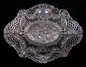 Antique .800 Sterling Silver Repousse Pierced Basket Country Picnic w Musicians