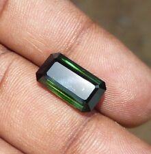 6.40 Ct natural tourmaline deep green rectangle emerald cut loose gemstones