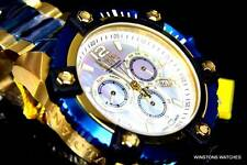 Mens Invicta Reserve Grand Arsenal Watch 63mm Swiss Chronograph Gold Blue New