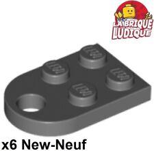 Lego - 6x Plate Modified 3x2 with Hole gris foncé/dark bluish gray 3176 NEUF