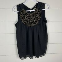 One September Anthropologie Womens Black Size Medium Layered Embroidered Top
