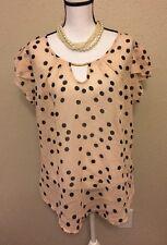 Live 4 Truth Women's Size XL Nude Black Polka-Dot Sheer Blouse Keyhole Summer
