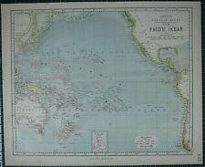 1883 LETTS MAP ~ PACIFIC OCEAN POLYNESIA AUSTRALIA NEW GUINEA NIPPON