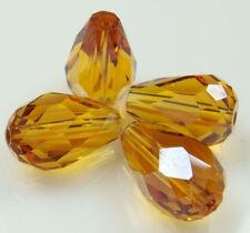 "Real Natural  8x12mm yellow Crystal Teardrop Gems Loose Beads 15"" JL0841"