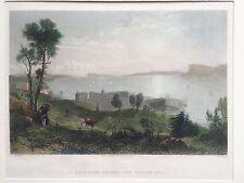 1830s Antique Engraved Print SING SING Prison Tappan Sea New York Long Island
