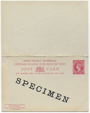 1890s Leeward Islands QV 1d+1d red SPECIMEN postal stationery reply PC