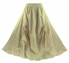 BeautyBatik Oat Women Cotton BOHO Gypsy Long Maxi Victorian Flare Skirt 1X 2X