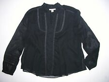 Coldwater Creek Black Sheer Lined Fitted Blouse PS (6-8) Shirt Top