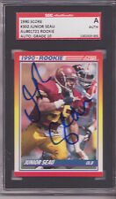 JUNIOR SEAU SD CHARGERS USC SIGNED 1990 SCORE ROOKIE CARD SGC SLAB PERFECT 10