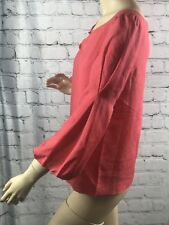 J. Crew Womens Blouse Silk Coral Classic Puffy Bell 3/4 Sleeves Key Hole Top 2