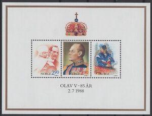 NORWAY Sc. 931 King Olav V Birthday 1988 MNH souvenir sheet