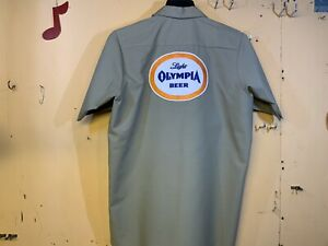 OLYMPIA BEER DELIVERY GUY WORK SHIRT RED KAP MEDIUM 🍺🍺🍺🍺🍺🍺🍺🍺🍺🍺🍺🍺🍺🍺