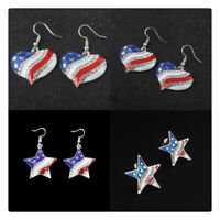Women Patriotic Crystal Earrings Jewelry American Flag Ear Studs Star Shape