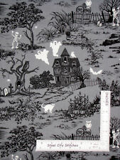 Halloween Cat Owl Pumpkin Skull House Cotton Fabric Traditions Black Gray Yard