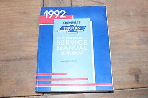 1992 C/K Truck Supplement Natural Gas Models  GM Shop Service Manual