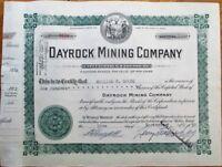 Dayrock Mining Company 1933 Stock Certificate - Wallace, Idaho ID