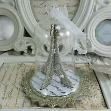 "Eiffel Tower Christmas Ornament 4"" Paris French Glass Cloche Bubble Globe Winter"