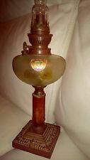 LAMPE A PETROLE ANCIENNE legras? Haut : 52 cm bon état général à décor de fleurs