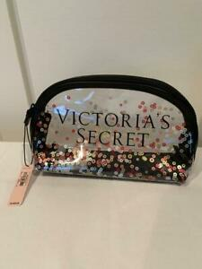 VICTORIA'S SECRET - SPARKLE SEQUIN CLEAR COSMETIC CASE - NEW