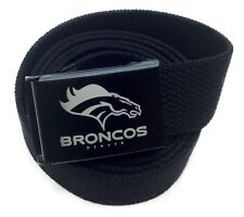 Custom Made Denver Broncos Canvas Web Belt and Buckle