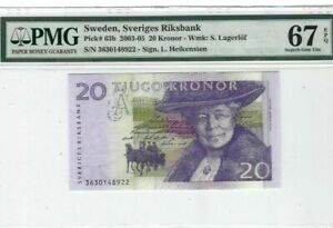 2003 Sweden 20 Kronor PMG67 EPQ SUPERB GEM UNC <P-63b>