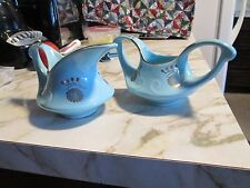 Vintage Pearl China Turquoise Sugar And Creamer Set With 22K Gold Trimming