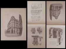PARIS, 68 RUE DE LA BOETIE - GRAVURES ARCHITECTURE 1890 - LOBROT