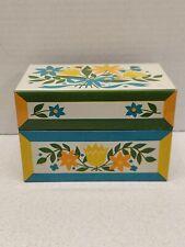 "Vintage MCM Colorful Floral Recipe Tin Syndicate Manuf Pennsylvania 3"" x 5"""