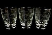 Set of 3 Vintage Libbey Glass Cups Leaf Etched Juice Glasses Drinking Small