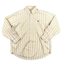 Brooks Brothers 346 Striped Button Up Shirt Mens XL Yellow Blue Logo Long Sleeve