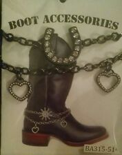 Horseshoe Boot Bling Bracelet Chain Charm Western Accessory Cowgirl Strap Rodeo